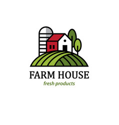 farm logo with farmhouse and silo vector image