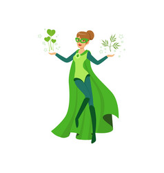 Female eco superhero levitates with green leaves vector