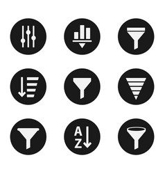 filter objects icons industry set vector image