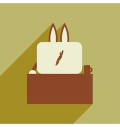 Flat icon with long shadow rabbit cartoon vector