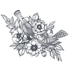 Floral composition of hand drawn anemone vector