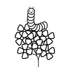 Flowers garden with worm kawaii character vector