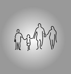 Four people family holding hand vector