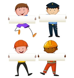 Four people holding white papers vector