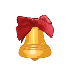 golden bell with red bow isolated on white vector image