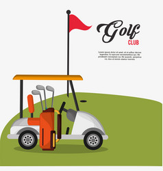 Golf club car bag and clubs flag vector