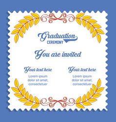 Graduation card invitation icon vector