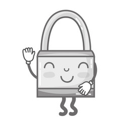 Grayscale kawaii cute happy padlock security vector