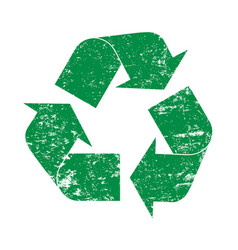 Green grunge recycling logo icon vector