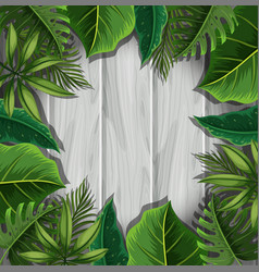 green leaves on gray wooden board vector image