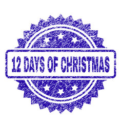 Grunge 12 days of christmas stamp seal vector