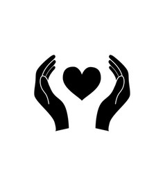hands hold a heart healthcare concept black icon vector image