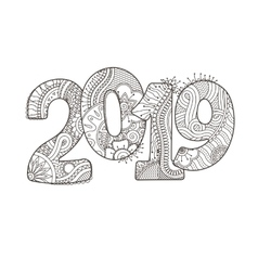 Happy New Year 2019 celebration number vector