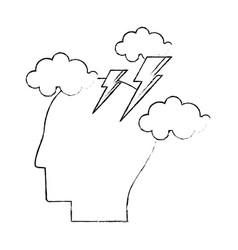 Head human brainstorm creativity sketch vector