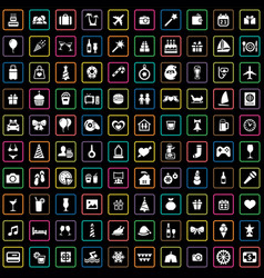 Holiday 100 icons universal set for web and ui vector