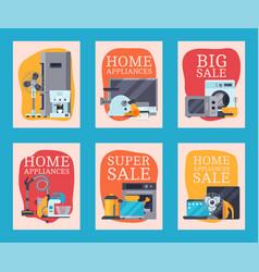 home appliances sale cards flat vector image