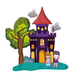 Horror castle with children costume and cat vector