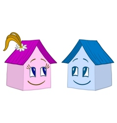 houses girl and boy contours vector image