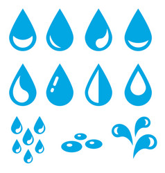 icons of water drops isolated on white vector image