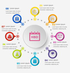 infographic template with birthday icons vector image