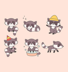 kawaii funny raccoon collection cute raccoons vector image