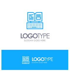Key keyboard book facebook blue logo line style vector