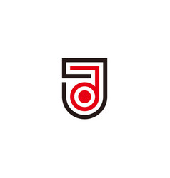 Letter jd emblem thin line geometric logo vector