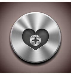 metal favorite icon button vector image