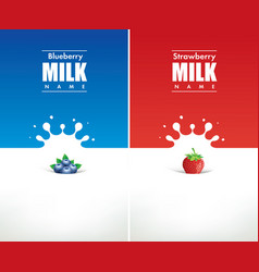 Milk splash with fresh blueberry and strawberry vector
