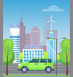 minivan on city highway cityscape and trees vector image