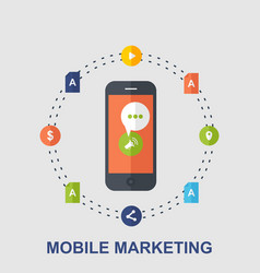 mobile marketing flat concept design vector image