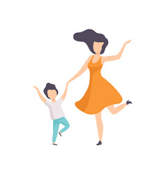 Mom and son dancing holding hands kid having fun vector