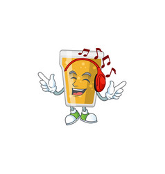 Mug beer listening to music with headset vector