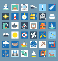 nautical and sailor flat icon set vector image