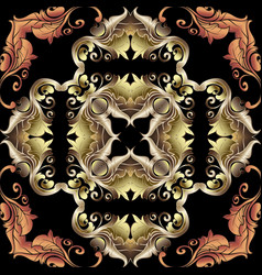 ornate gold 3d baroque seamless pattern luxury vector image