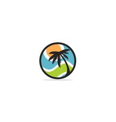 palm tree nature plant logo vector image