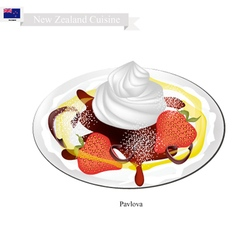 Pavlova Meringue Cake With Strawberries vector