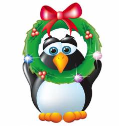 Penguin with wreath vector