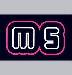 pink white blue alphabet combination letter ms m vector image