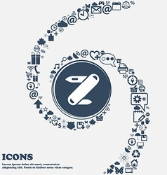 Pocket knife icon in the center Around the many vector image
