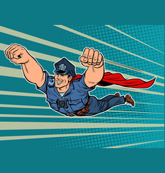 police superhero the policeman cop is flying vector image
