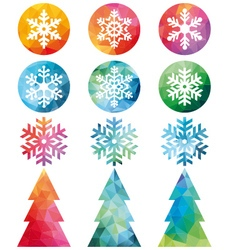 Polygonal Christmas set vector image