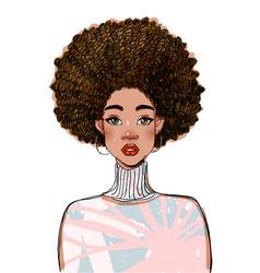Portrait a beautiful black woman model modern vector