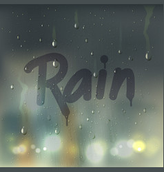 Rain word on misted glass composition vector