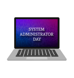 Realistic laptop isolated on white screen saver vector