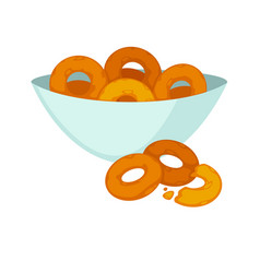 Round crispy bagels in deep plate isolated on vector
