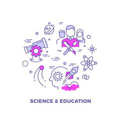 science and education flat line concept vector image