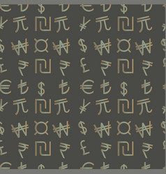 seamless pattern - currency symbols of the world vector image