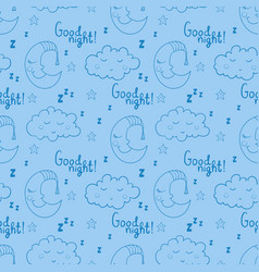 Seamless pattern with cartoon sleeping moon cloud vector