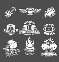 Set american football logo label vector